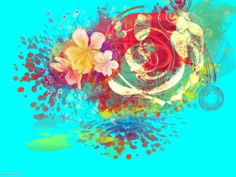 Flourescent blue flower design